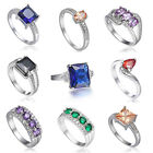 more GEM  7/8/9 Women Engagement Ring Jewelry 18K White Gold Filled Sapphire
