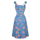 Hell Bunny Darlene Blue Pink Floral 1940s Wartime WW2 Style Summer Tea Dress