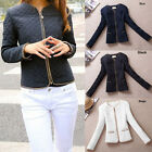 Fashion Womens clothes Long Sleeve slim Down fitted zipper Coat Tops Jacket