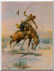 Western The Bucker Bucking Horse Charles Russell Repro Stretched Wall Art Print