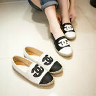 women Moccasins patent leather channel logo handmade Rope edge casual flats