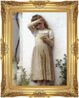Framed Canvas In Penitence by William Bouguereau Fine Art  Painting Reproduction