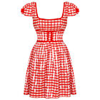 Living Dead Souls New Ladies Red Gingham Rockabilly Mini Summer Party Dress