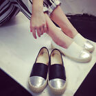 Women Flax Weave PU Montage Korean Style Flat Heel Pumps Loafer Slip-on Shoes