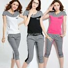 New Womens Ladies Sport Jogging Sets Cotton short sleeve tracksuit