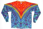 Adult Long Sleeve TIE DYE Fire V Blotter art T Shirt plus sizes 2X 3X 4X hippie