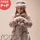 Girls Mink Faux Fur Suri Style Coat Warm Winter Cream Jacket, Hat & Hand Muff