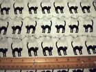 black cats on an ivory background    100% cotton fabric    by the metre