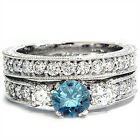 1.50CT Blue 3 Diamond Three Stone Ring Engagement Vintage Antique Wedding Set