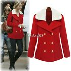 Lady Winter Warm Double Breasted Lapel Trench Slim Coat Jacket Outwear Top Red