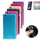 Thin Crystal Clear Soft Gel Silicone Case Cover For Sony Xperia T3 +Protector