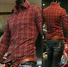 Fashion Mens Luxury Casual Slim Fit Stylish Dress Shirts Plaid Shirt C5820