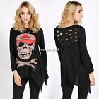 Punk Women Long Sleeve Skull Print Casual Asym Irregular Casual Top T-Shirt N4U8