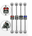 1 Skull Industrial Steel Barbell 14g -  Choose 34mm 37mm & Gem Colour #Skull