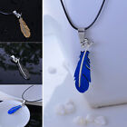 Men's Robust Black/Blue Feather Shape Stainless Steel Pendant Necklace Gifts