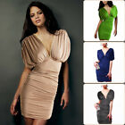 SALE Womens Drop Sleeve Metal Chain Slip On Ruched Evening Party Day Tunic Dress