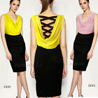 NEW Cowl Neck Lattice Cutout Back Casual Party Knee Length Sz Size Dress