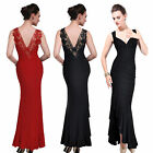 Donna Bella Elegant Floral Lace Deep V Neck Sequined Ruffled Fishtail Maxi Dress