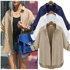 New Casual Womens Zip Boyfriend Loose T Shirt Long Sleeve Top Blouse Coat Jacket