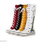 Women's Fashion Sneaker Shoes Lace up Platform Flats Mid Calf Boots US Size O190
