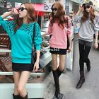 Korean Autumn Women Loose Leopard Print Batwing Long Sleeve T-Shirt Sweatshirt B