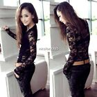 Women Long Sleeve Hollow Crochet Emboriey Lace Blouse Bottoming Shirt Tops NU