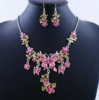 Bib Statement Necklace Set Wedding Jewelry Butterfly Crystal Rhinestone Set New