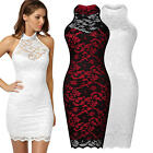 Womens Sexy Contrast Lace Backless Prom Wedding Formal Evening Party Dresses8-16