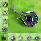 Classic Amethyst White & Pink Topaz Morganite Gemstone Silver Pendant Necklace
