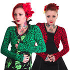 Banned Womens Red Green Leopard Print Rockabilly Cardigan Bolero Shrug
