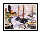 Sailboats on the Seine Boats Claude Monet Framed Art Repro Canvas Giclee Print