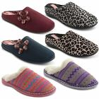New Ladies Dunlop Faux Fur Lined Knitted Winter Slip On Slipper Mules Size 3-8