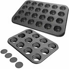 12 Cup Or 24 Mini Cup New Prochef Non Stick Muffin Cake Loose Base Baking Trays