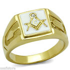 Mens Masonic Mason White Background Gold Plated Stainless Steel Ring