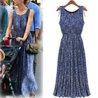 Women's Trendy Casual Boho Floral Print Waist Stretch Pleated Beach Maxi Dress