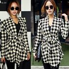 Houndstooth Open Front Women's Cardigan Knitwear Knitted Top Wrap Cape Waistband