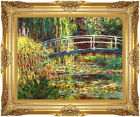 Framed Canvas Art Claude Monet Water Lilies Pink Harmony Giverny Painting Repro