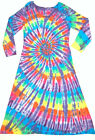 TIE DYE Women's Neon Rainbow Long Sleeve Dress grateful dead hippie sm med lg xl