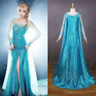 Halloween Gorgeous Women Frozen Elsa Princess Blue Party Dress Adult Costume