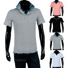 Men Casual Plaid Short Sleeve Stand Collar Polo T-shirts Shirt Tee Tops Hot sale
