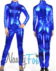 Sexy Metallic Blue Fetish Bodysuit Catsuit Womens Halloween Costume S-3XL