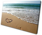 Sunset Seascape Beach Heart SINGLE CANVAS WALL ART Picture Print VA