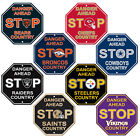 "New NFL 32 Teams Home Office Decor STOP Sign 12"" x 12"" Octagon Made in USA $9.89 USD on eBay"
