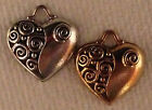 Heart with swirls charm in either Antique pewter or gold finish