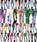 New Women 3D Print Leggings Stretchy Galaxy Space Jeggings Shinny Pencil Pants