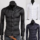 New Mens Long Sleeve Dress Casual Shirt T-shirt Luxury Slim Fit Quilted Tee Tops
