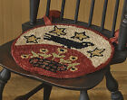 "Folk Crow Hooked Chair Pad by Park Designs, 14.5"" Diameter, With Ties, 1 or Set"