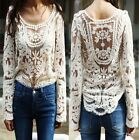 Women Semi Sheer Embroidery Floral Hollow Lace Crochet Tee T-Shirt Top Blouse