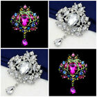 NEW RHINESTONE CRYSTAL CROWN FLOWER BRIDAL WEDDING FAVOR GIFT BROOCH PIN