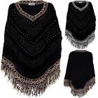 Ladies V Neck Glitter Beaded Tasseled Women's Striped Knitted Shawl Cape Poncho